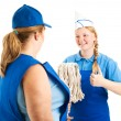 Teenage Worker Has Great Attitude - Stock Photo