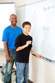 African American Teacher with Student — Stock Photo