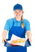 Friendly Waitress Serves Fast Food — Stock Photo