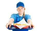 Fast Food Worker - Rude Attitude — Stock Photo