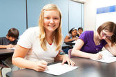 Pretty Blond Girl in Class — Stock Photo