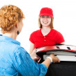 Delivering Pizza to Customer — Stock Photo