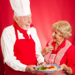 Chef Teaches Italian Cooking to Housewife - Stok fotoğraf