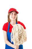 Teen Worker in Uniform with Mop — Stock Photo
