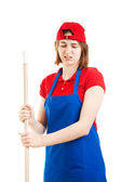 Disgusted Worker Mopping Up — Stock Photo