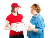 Pizza Home Delivery on White — Stock Photo