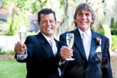 Gay Wedding Couple - Champagne Toast — Stock Photo