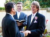 гей пара обменивается свадебные клятвы — Стоковое фото