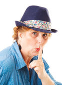 Middle-aged Woman - Hush Silence — Stock Photo
