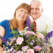 Wife Gets Flowers from Husband — Stock Photo