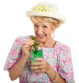Kentucky senior dame mit mint julep — Stockfoto