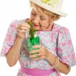 Tipsy Senior Lady Drinking Cocktail — Stock Photo