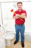 Plumber in Bathroom — Stock Photo