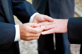 Gay Wedding - Exchanging Rings — Stock Photo