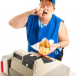 Fast Food Worker Sneezing on Meal — Stock Photo #27314735
