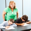 Happy Teacher with Students — Stock Photo