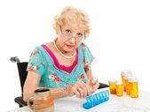 Senior Woman Sorting Pills — Stock Photo