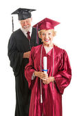Senior Graduate and Professor Isolated — Stock Photo