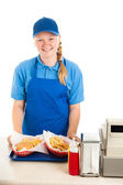 Friendly Teenage Worker in Restaurant — Stock Photo
