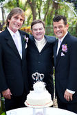 Gay Wedding Couple with Minister — Stock Photo
