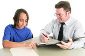 Student and Teacher or Counselor — Stock Photo