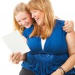 Mom Enjoys Greeting Card From Daughter — Stockfoto