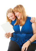 Mom Enjoys Greeting Card From Daughter — Stock Photo