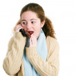Latina Tween Gossips on the Phone — Stock Photo