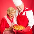 Chef and Housewife Cherry Pie — Stock Photo