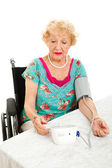 Taking Own Blood Pressur at Home — Stock Photo