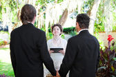 Young Female Minister Marries Gay Couple — Stock Photo