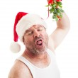 Disgusting Horny Guy with Christmas Mistletoe — Stock Photo