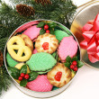 Colorful Christmas Cookies - Gift — Stock Photo