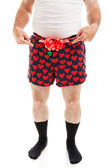 Sexy Christmas Gift - Guy in Boxers — Stock Photo