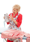 Senior Lady Tests Iron — Stock Photo