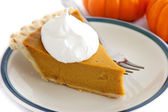 Pumpkin Pie Slice With Cream Topping — Stock Photo