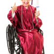 Senior Graduate in Wheelchair - Thumbs Up — Stock Photo