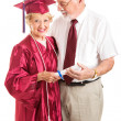 Senior Lady and Spouse Celebrate Her Graduation — Stock Photo