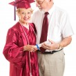Senior Lady and Spouse Celebrate Her Graduation — Foto Stock