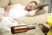 Guy Passed Out at Home — Stock Photo