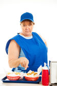 Fast Food Cashier - No Nonsense — Stock Photo