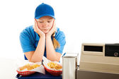 Depressed Teen Fast Food Server — Stock Photo