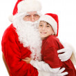 Cute Little Boy With Santa — Stock Photo