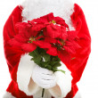 Santa Claus Holding Poinsettias — Stock Photo