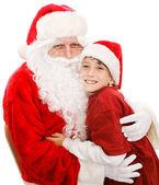 Cute Little Boy With Santa — Stock Photo