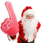 Sports Fan Santa with Foam Finger — Stok fotoğraf