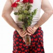 Stock Photo: Valentines Guy in Underwear with Roses
