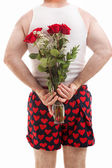 Valentines Guy in Underwear with Roses — Stock Photo