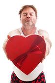 Scruffy Valentine Guy Ready for Kiss — Stock Photo