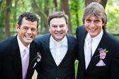 Minister Posing With Gay Wedding Couple — Stock Photo